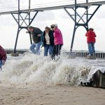 October 26 2008 Waves crash into the shore of South Haven Sunday evening. (Jonathon Gruenke / Gazette)